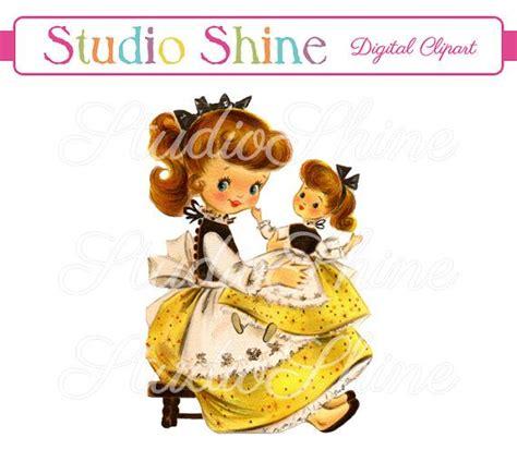 vintage digital clipart girl  doll printable image
