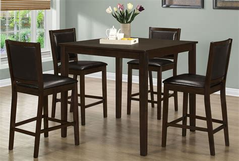 walnut piece counter height dining room set monarch