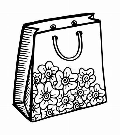 Shopping Bag Drawn Cartoon Hand Illustration Vector