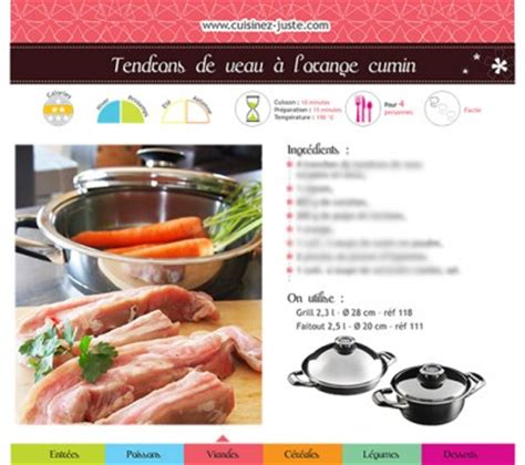 fiche recette de cuisine fiche recette viande tendrons de veau à l 39 orange cumin