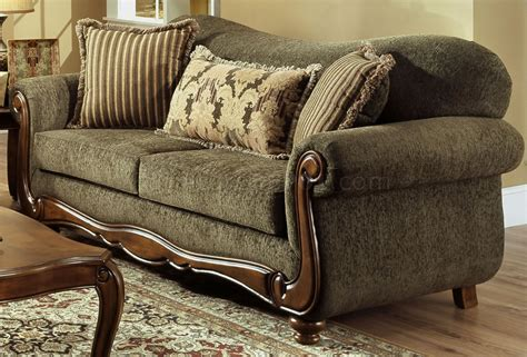 Fabric Loveseat Sofa by Pine Fabric Traditional Sofa Loveseat Set W Rolled Arms
