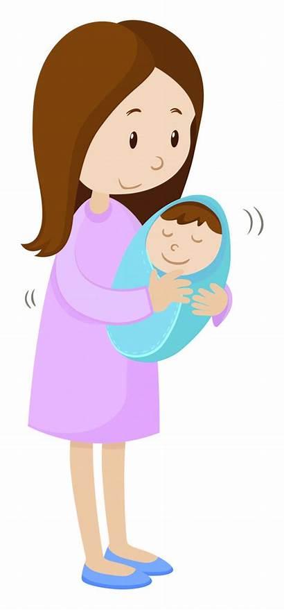 Mother Vector Holding Newborn Cartoon Illustration Child