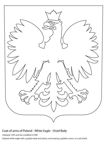 Coat of Arms of Poland Coloring page | Flag coloring pages