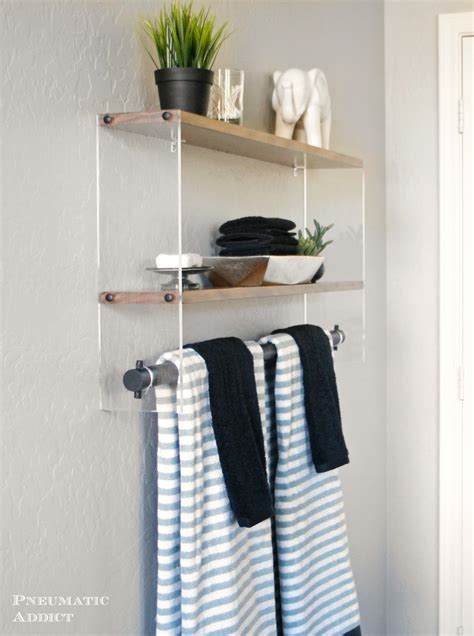 wood  acrylic bathroom shelf pneumatic addict