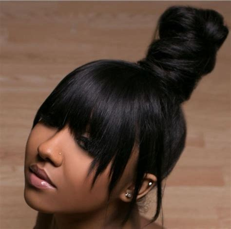 Black Hairstyles With Bangs And Buns by Top Knot Bun W Bangs Hair Bangs Ponytail