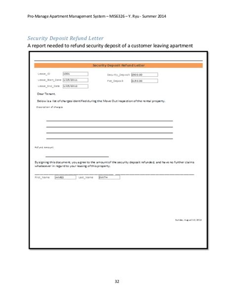 Apartment Deposit by Property Management System Database