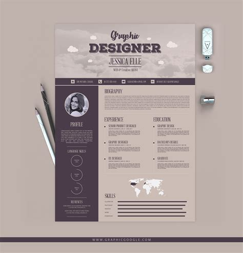 Free Flat Design Resume Template by Free Creative Vintage Resume Design Template For Designers