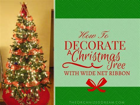decorate  christmas tree  wide mesh ribbon