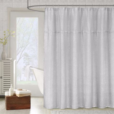 metallic silver gray fabric shower curtain textured sheer