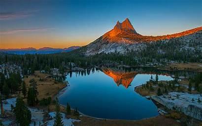 Mountain Sunset Desktop Rocky Water Lake Reflecting