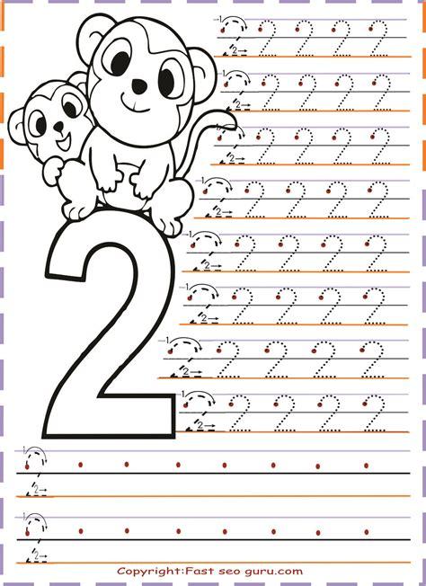 printables numbers tracing worksheets   kindergarten