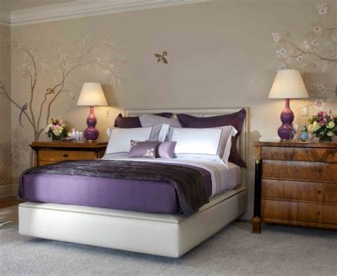 purple bedroom decor ideas  grey wall  white accent