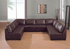 Brown leather 8 pc modern sectional sofa w tufted seats for Sectional sofa that seats 8