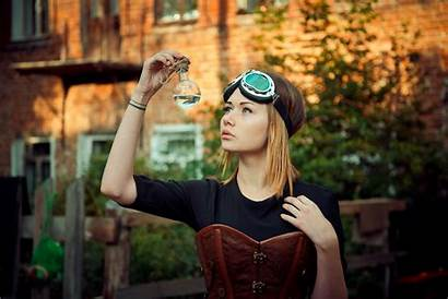 Lady Field Portrait Corset Goggles Blonde Eyes