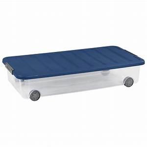 Rangement Dessous De Lit : allibert box de rangement dessous de lit scotti bleu 35l 79x39x16 cm ~ Melissatoandfro.com Idées de Décoration