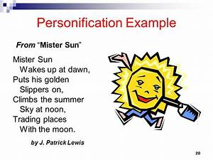 PERSONIFICATION example from Mr. Sun | FIGURATIVE LANGUAGE ...