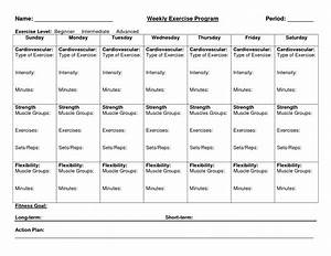 pin name weekly exercise program period level beginner on With weekly fitness plan template