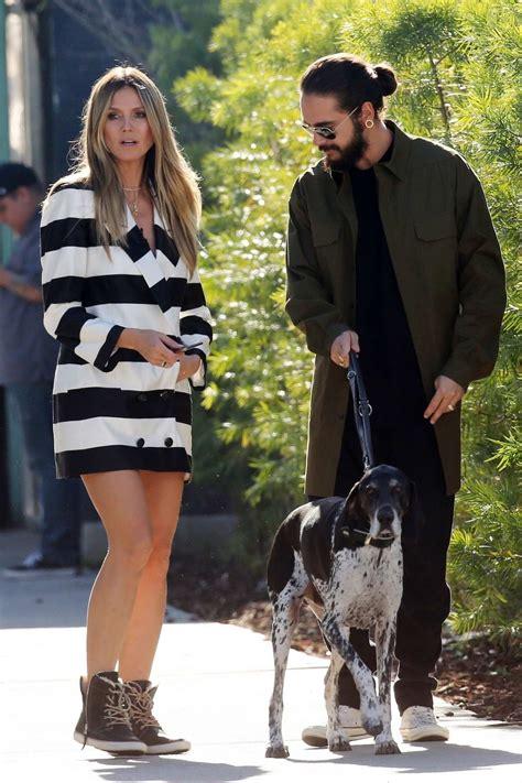 heidi klum  boyfriend tom kaulitz hold hands   enjoy  walk    dog  los angeles