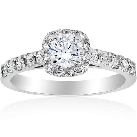 1 Ct Cushion Halo Round Solitaire Diamond Engagement Ring