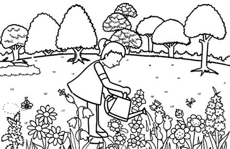 girl pouring water  garden coloring pages color