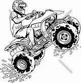 Wheeler Quad Four Atv Drawing Coloring Pages Clipart Bike Motorbike Racing Silhouette Rider Jumping Printable Boys Wheelers Clip Drawings Sheets sketch template