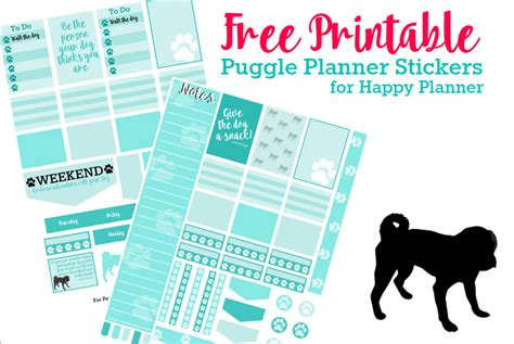 printable planner stickers  puggle lovers kols