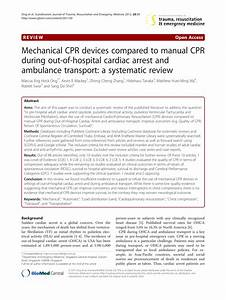Pdf  Mechanical Cpr Devices Compared To Manual Cpr During