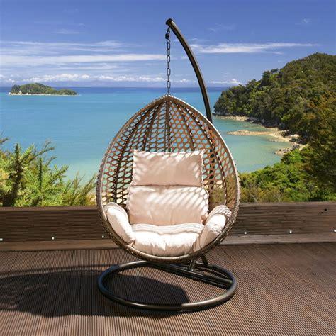 luxury garden hanging chair brown mix rattan cushion