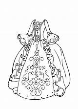 Coloring Gown Dresses Popular Ball sketch template