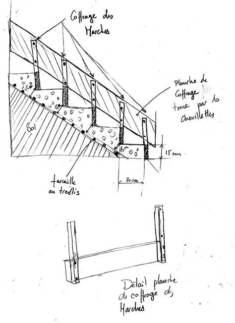plan coffrage escalier beton schema escalier beton