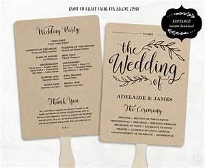 printable wedding program template rustic wedding fan program wedding fans editable text 5x7 With diy wedding program fan template