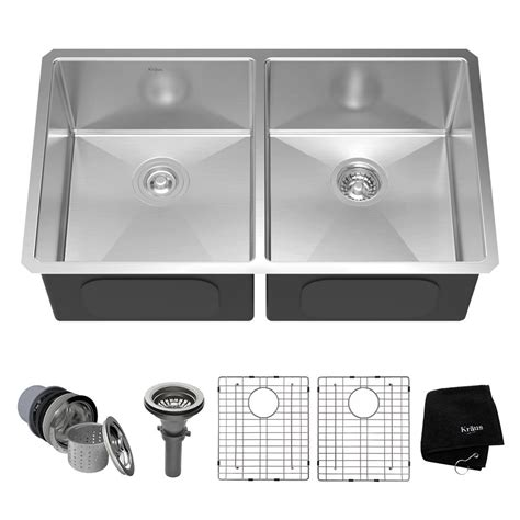 stainless steel undermount kitchen sinks kraus undermount stainless steel 33 in 50 50 bowl 8300