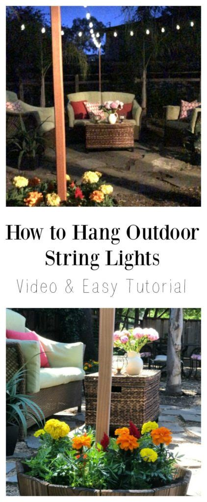how to hang outdoor string lights video and easy tutorial