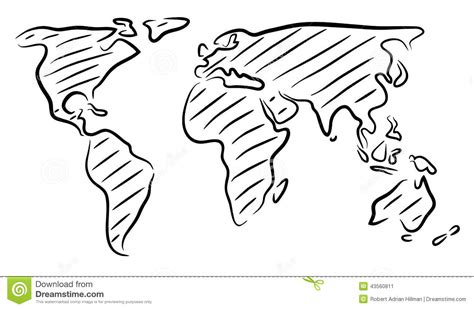 world map sketch stock vector illustration  continents