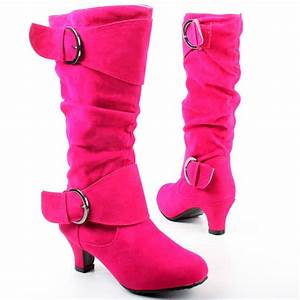 West Shoes Fuchsia Kitten Heel Slouch Boot | Mid calf ...