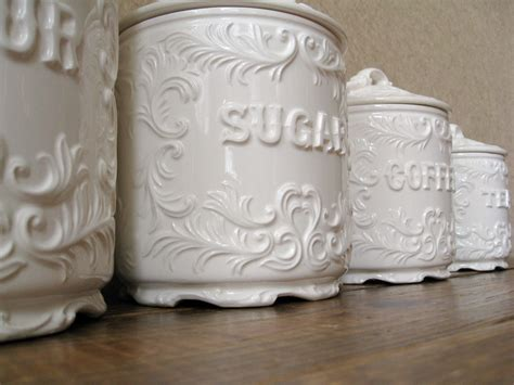 shabby chic canisters vintage canister set antique white with ornate details