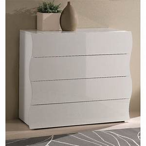 Commode Blanc Laqué : commodes meubles et rangements commode onda 4 tiroirs blanc brillant inside75 ~ Teatrodelosmanantiales.com Idées de Décoration