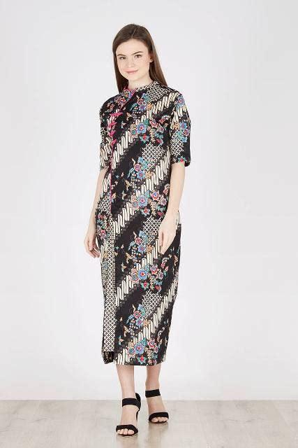 desain model long dress batik  kombinasi polos elegan