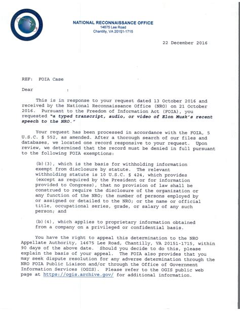 foia request i submitted a foia request to the nro asking for the elon speech in october they said no