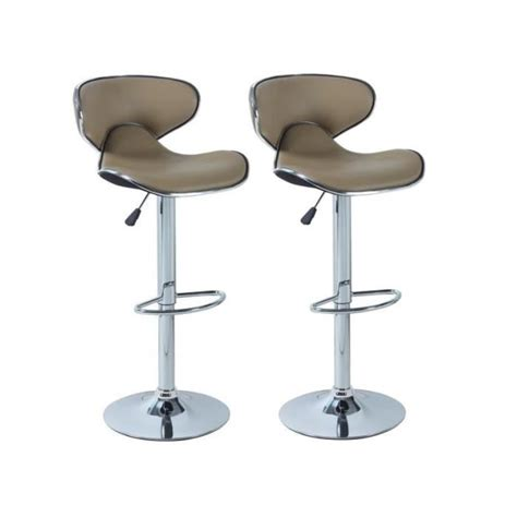 york lot de 2 tabourets de bar taupe achat vente