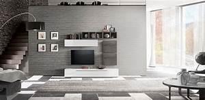 Parete, Attrezzata, Design, Moderno, Finitura, Bicolore, Bianco, Lucido, E, Beton