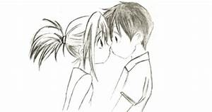 Cute Boy And Girl Kissing Drawing