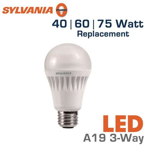 led 3 way bulb 40 60 75 watt equal sylvania led13a19