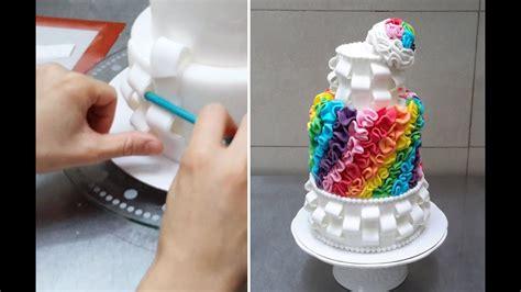 rainbow fondant cake    cakes stepbystep youtube