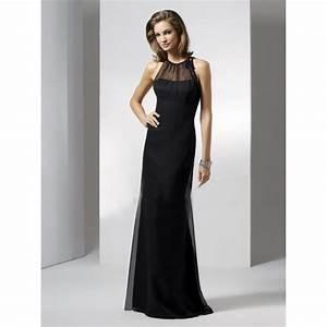 sheath jewel chiffon long black bridesmaid dress With black long dresses for wedding