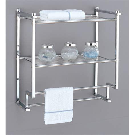 Bathroom Racks And Shelves by Metro 2 Tier Wall Rack With Towel Bars In Bathroom Shelves