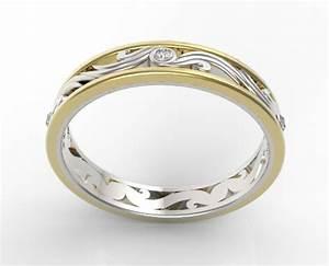Womens diamond wedding band two tone gold vidar jewelry for Two tone wedding rings for women
