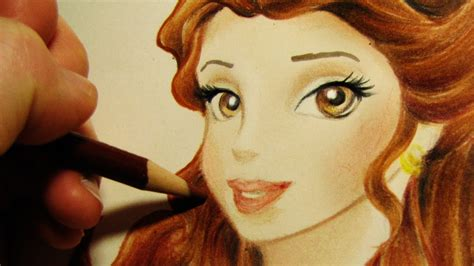 speed drawing belle  disney princess youtube