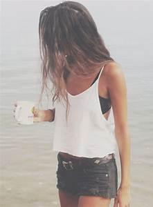 Top white top denim shorts bralette white tank top ...