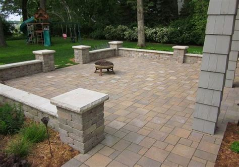 Paver Brick Wall by Covered Patio Patios Walkways And Walls Portfolio